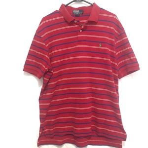 Ralph Lauren Polo Shirt Red Striped Large